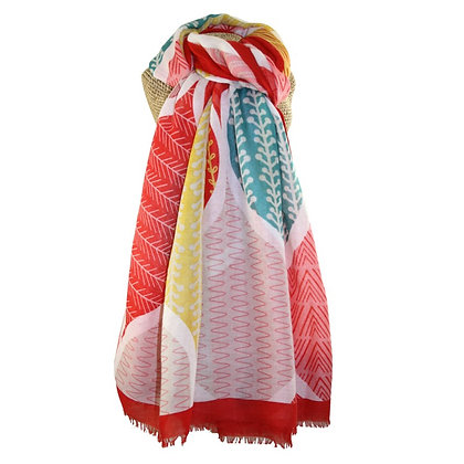 Tropical large print scarf red/jade