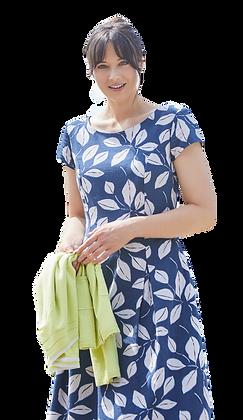 Leaf print linen dress in blue
