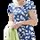 Thumbnail: Leaf print linen dress in blue