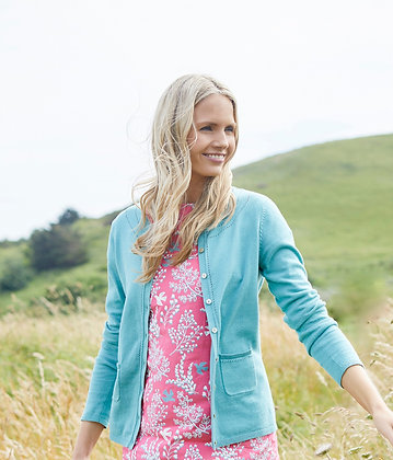 Pointelle knit cardigan in turquoise