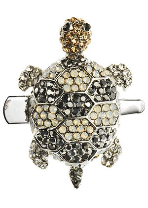 Black and White Turtle Crystal Hairclip & Brooch