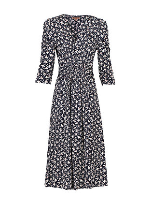 Ditsy floral midi dress in black