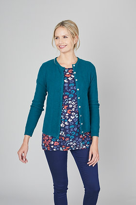 Vintage cotton knit cardigan in teal