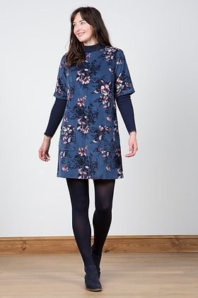 Floral cord pocket tunic in blue