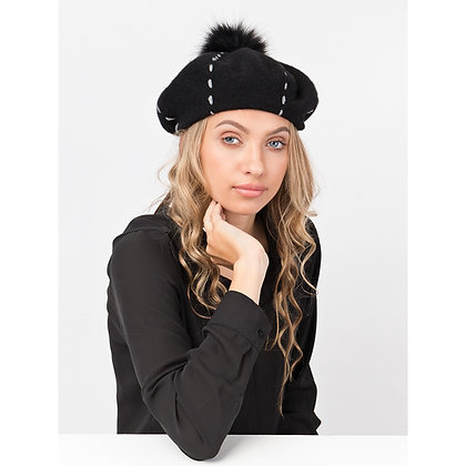 Top stitch beret in black