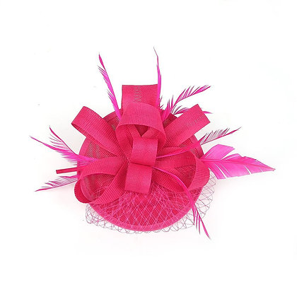 Fuchia pink fascinator on band