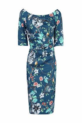 Teal floral pencil dress
