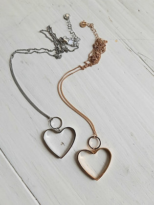 Heart chain necklace in silver or gold