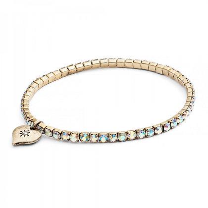 Clear crystal stretch link bracelet
