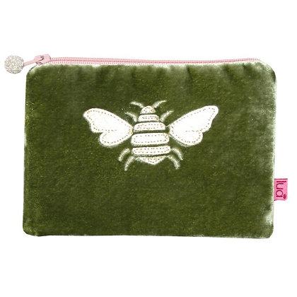 Velvet bee purse in olive