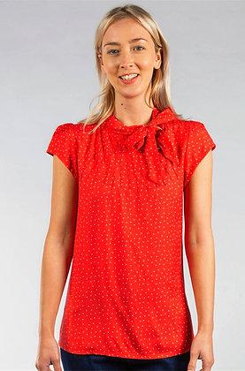 Polka dot blouse in red