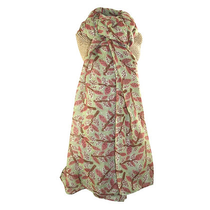 Leafy branches scarf in green &  pink