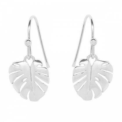 Silverplated leaf drop earrings