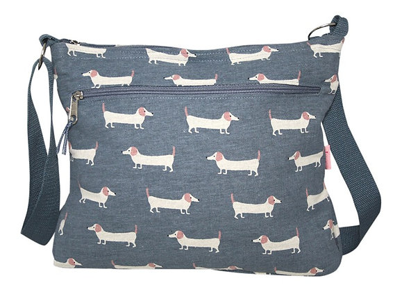 Sausage dog messenger bag in blue
