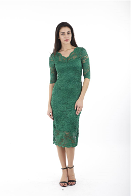 Lace pencil dress in green