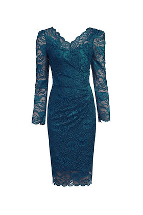 Gathered lace pencil dress in petrol