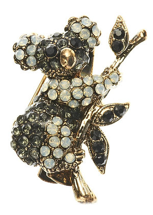 Black and White Koala Crystal Hairclip & Brooch
