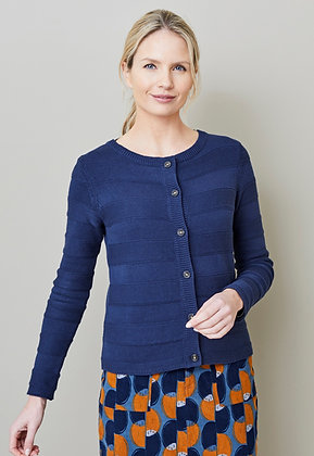Band cotton knit cardigan in navy