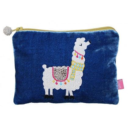 Velvet applique alpaca purse in blue