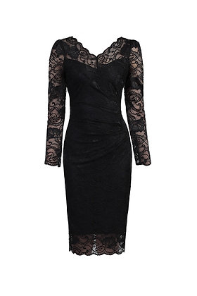 Gathered lace pencil dress in black