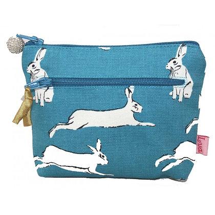 Twin zip hare print purse