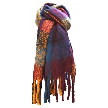 Check winter scarf in burgundy