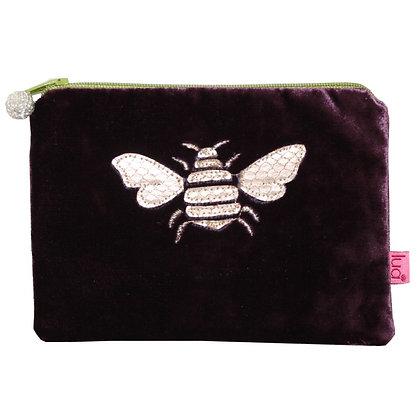 Velvet bee purse in plum