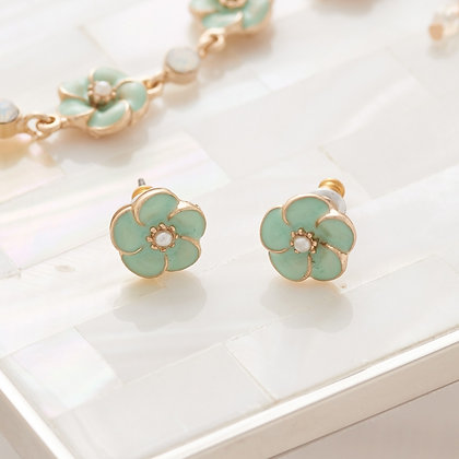 Petite fleur enamel stud  earrings