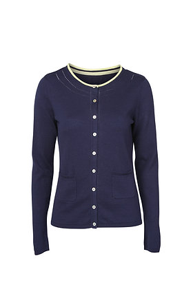 Pointelle knit cardigan in navy
