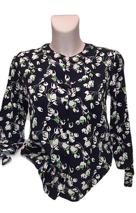 Tulips blouse in black and cream