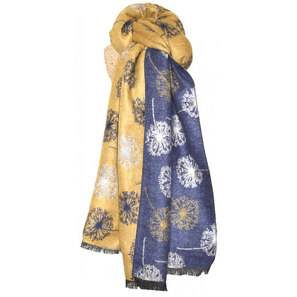 Dandelion shawl in navy & mustard