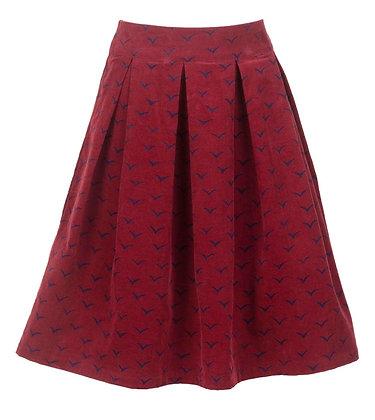 Seagull print cord skirt burgundy
