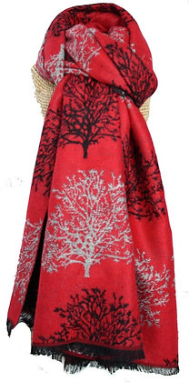 Winter tree shawl in red and black