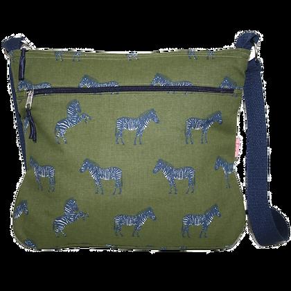 Zebra messenger bag in olive