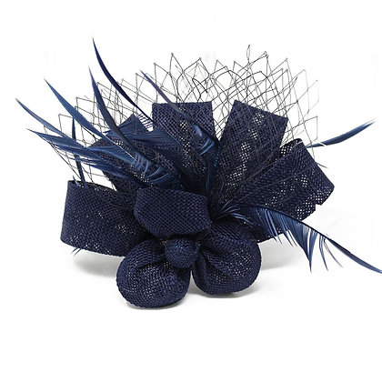 Mini fascinator clip in navy
