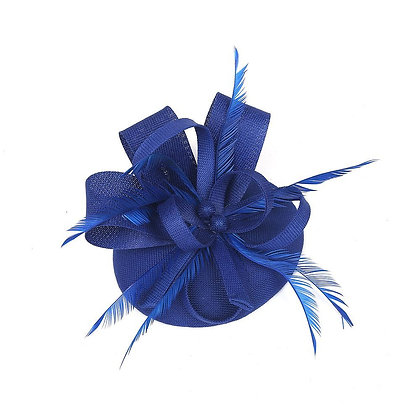 Royal blue fascinator on band