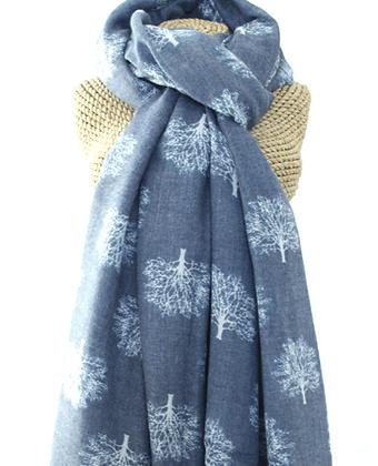 Oak print scarf in denim