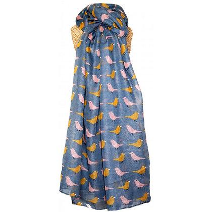 Birdie print scarf in denim