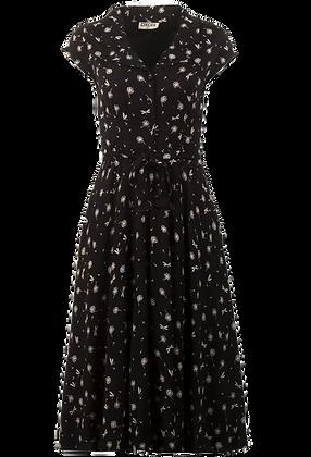 Dragonfly print midi dress in black