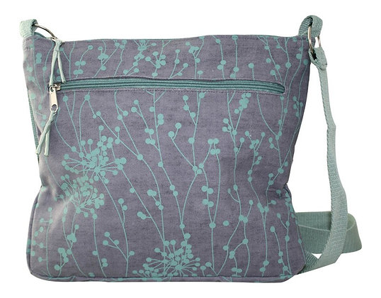 Messenger bag in grey and turquoise
