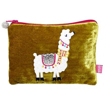 Velvet applique alpaca purse in mustard