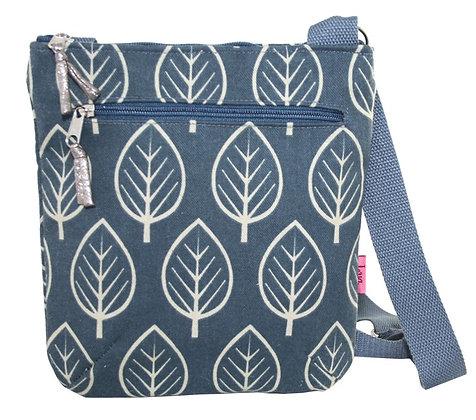 Blue leaf crossbody bag