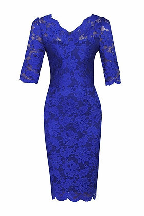 Lace pencil dress in electric blue