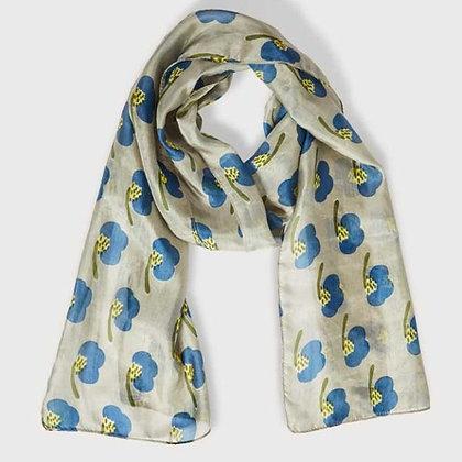 Hibiscus grey pure silk scarf