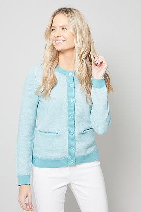 Pocket knit cardigan in turquoise