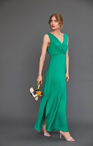 Green satin maxi dress