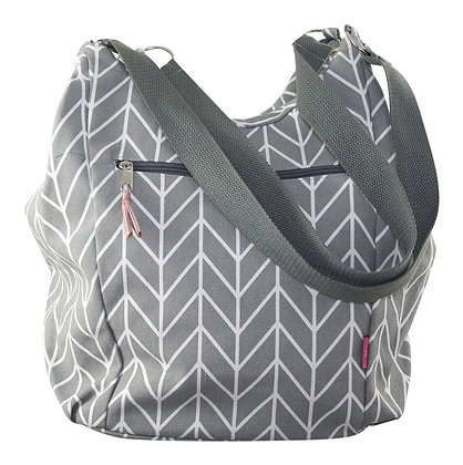 Chevron slouch bag in soft grey
