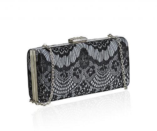 Black lace evening bag