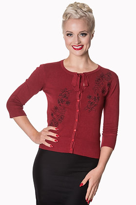 Rambling rose cardigan in wine