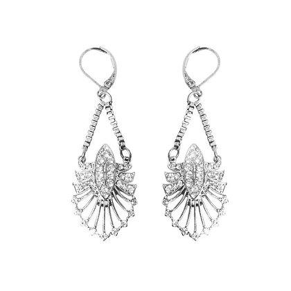 Silver crystal chain art deco earrings